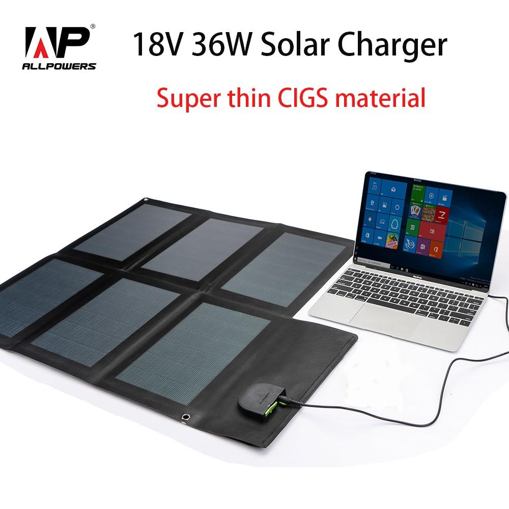 ALLPOWERS Mais Novo Avançado Carregador de Painel Solar Flexível Dobrável Painel Solar para Celulares Tablets Laptop Bateria de Carro etc.