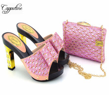 Capputine High Quality Elegant Women Shoes And Matching Bag Set For Wedding Dress Italian Style Shoes