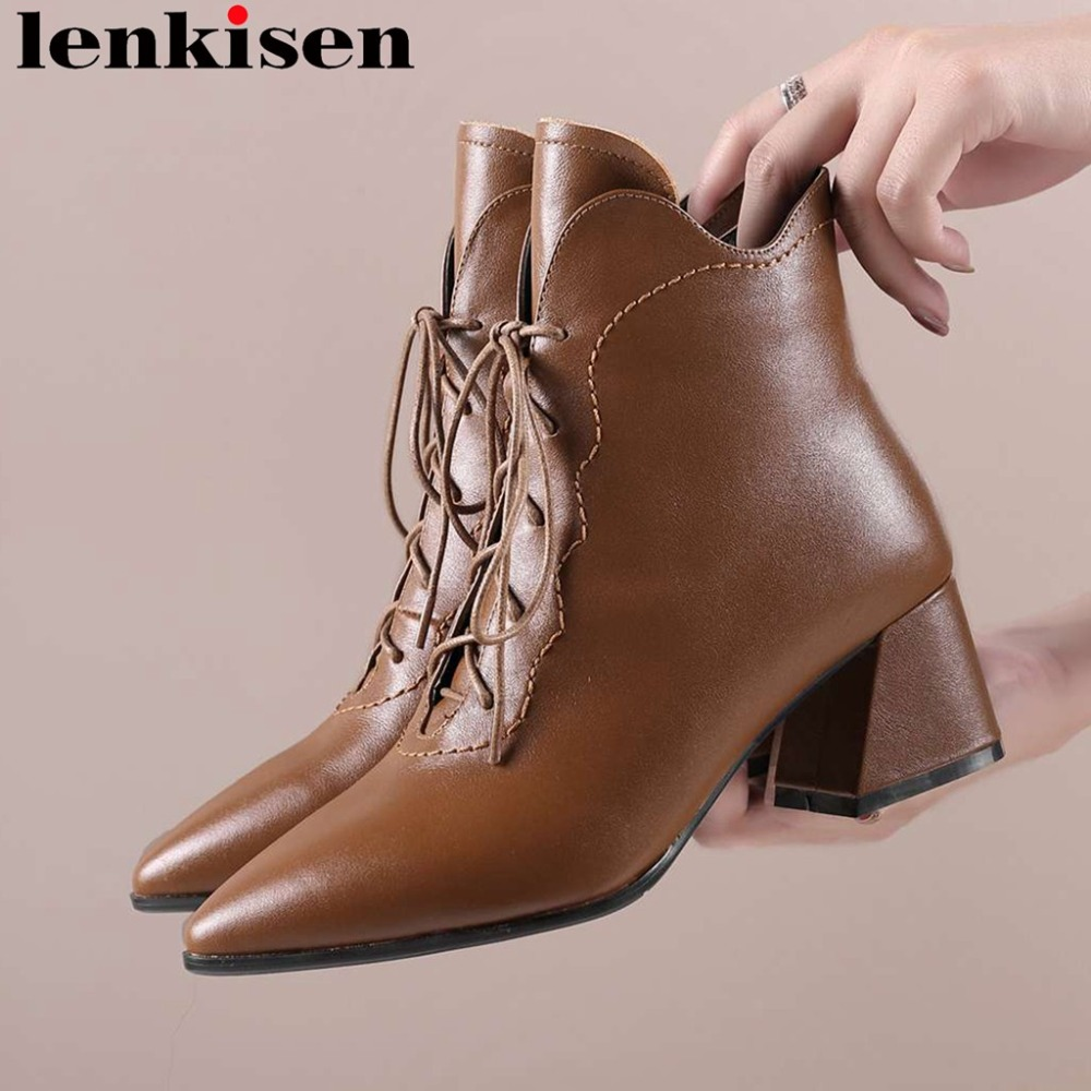 Rome british style pointed toe luxury cow leather zipper plus size thick med heels movie stars vintage female western boots L88 цена