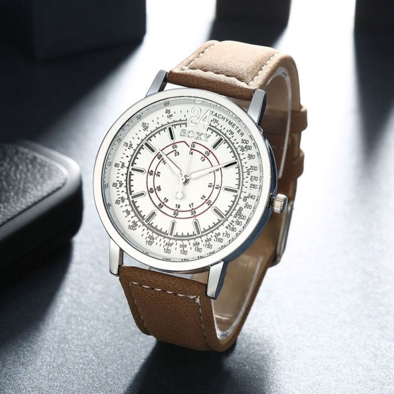 Excellent Quality New Retro Mens Quartz Watches White Dial Analog Automatic Leather Men Business Dress Watches Relogio Masculino