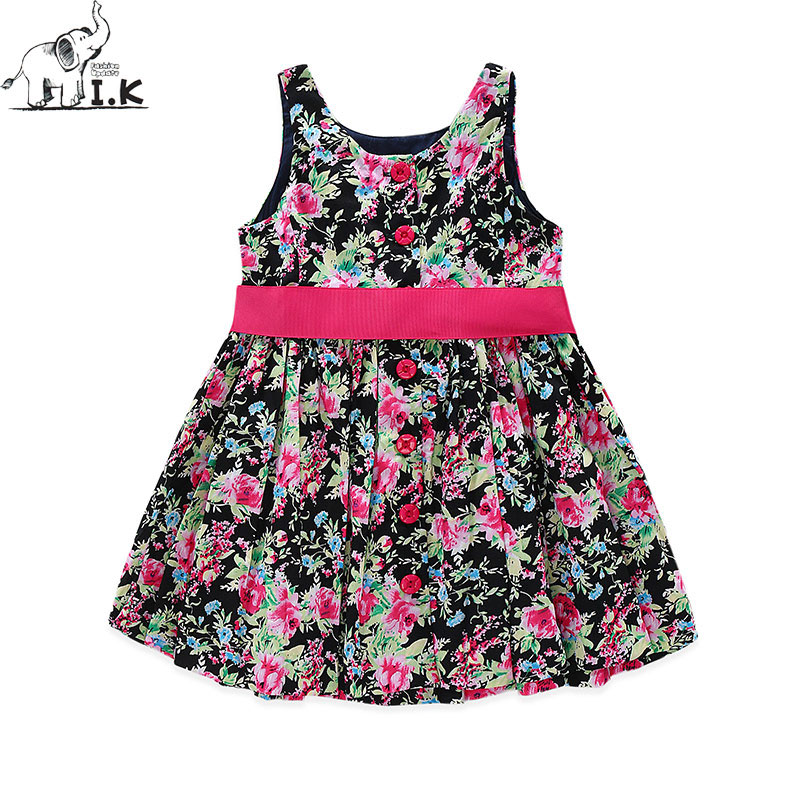 I.K Summer Sleeves Girls Print Dress Up Knee Length Sleeveless Cotton Kids Princess Dresses With  Big Bowknot Brand Flower B1018 мобильный телефон philips xenium e116 32gb черный 867000147075