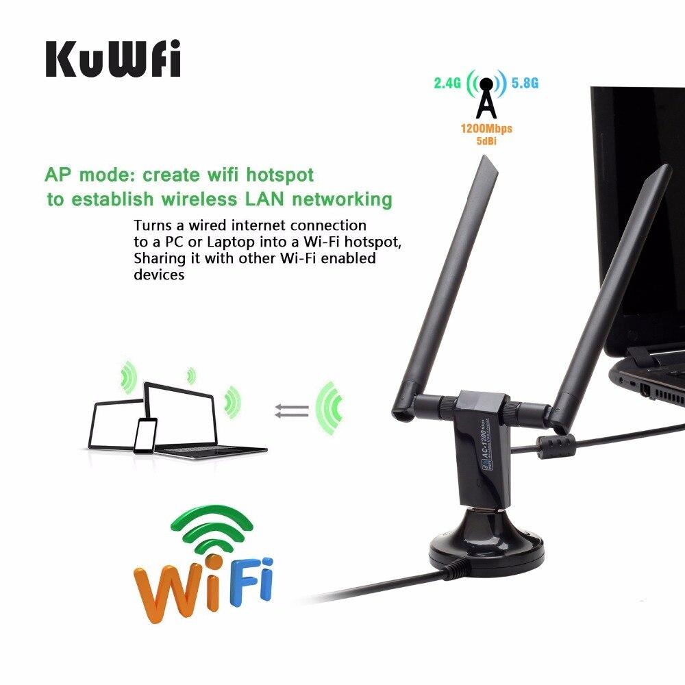 KuWFi Wireless KF1200 Dual Band Wifi Adapter Gigabit WiFi Network ...
