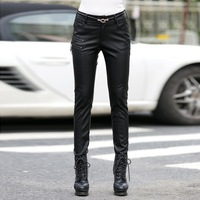 Plus Size S 5XL Women Leather Pants Female Trousers Fashion Slim Solid Casual Pants For Spring Autumn Black High Quality