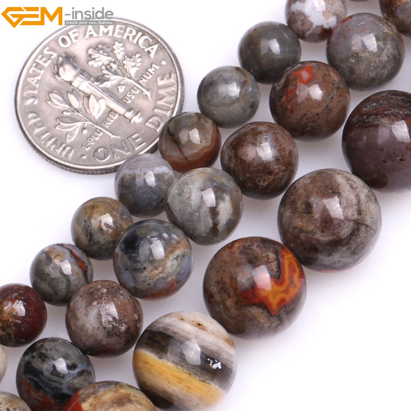 Gem-inside 6-10mm Natural Round Gray Morocco Red Lace Agates Beads For Jewelry Making Bracelet Necklace 15 DIY Jewellery Gift