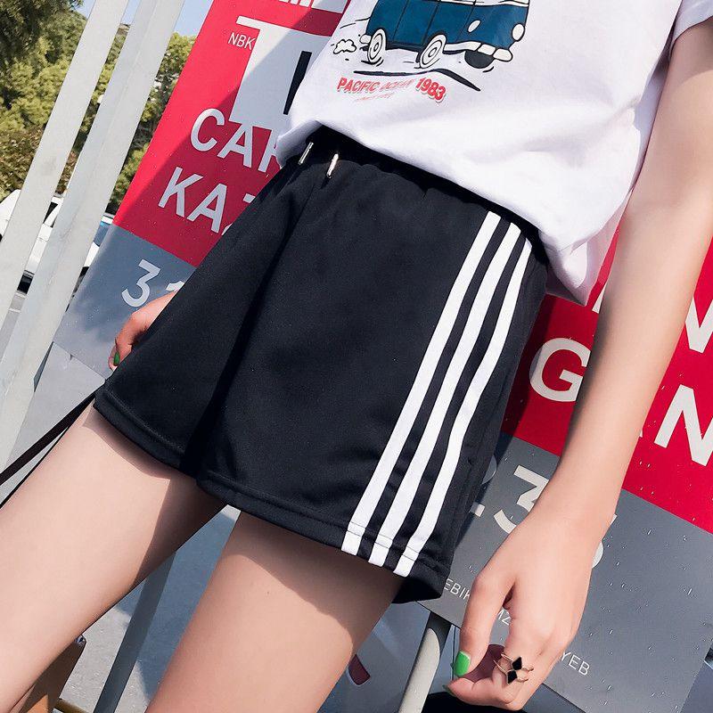 Womens Shorts Side Striped Elastic Waist Loose Casual Wide Leg Pantalon Corto Mujer Summer Harajuku Workout Fitness Short Pants