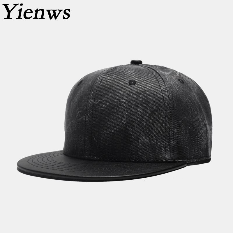 Yienws Kpop PU Hip Hop Cap Men Gorras Planas Snapback Hats Man Straight Brim Caps Bone Full Cap Hat Baseball YIC604 2017 new alan walker dj baseball cap alan walker with the return of men and women hip hop hats bone snapback cap