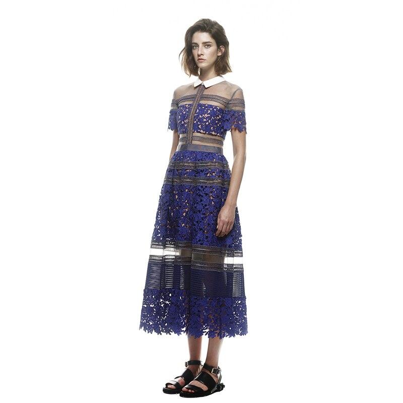 Las Encaje Blue Auto Elegantes 2019 Vestido Hueco Kim De Vintage Señoras Estilo retrato Fiesta Noche Kardashian wBHBxzq