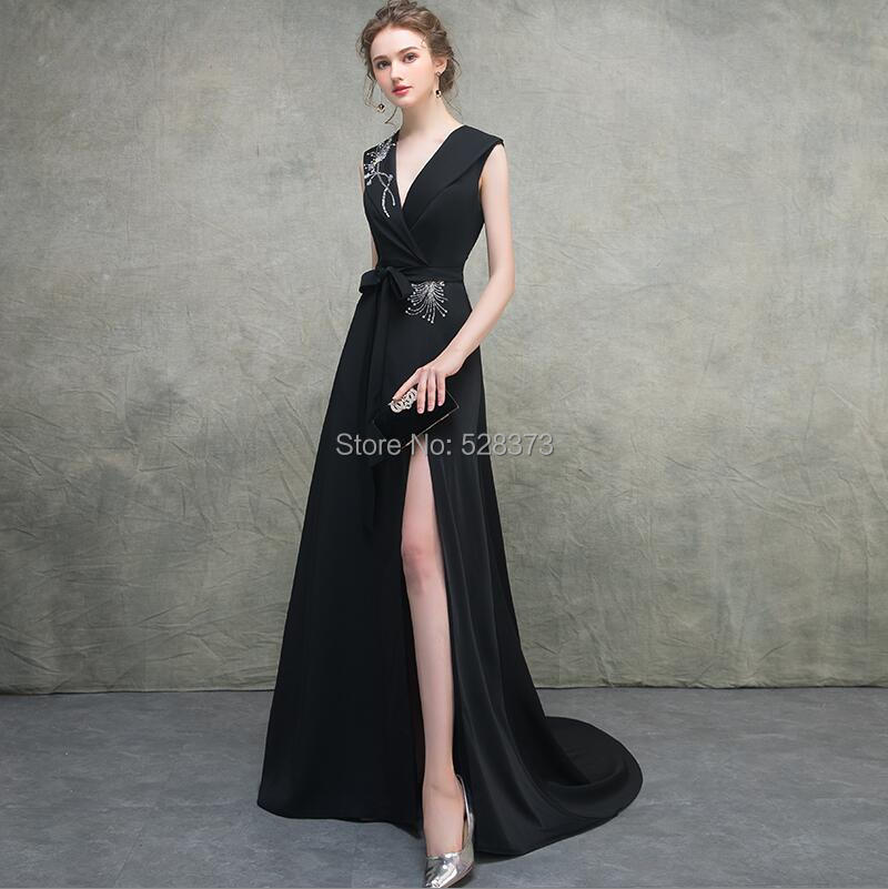 YNQNFS MD19 vraies Photos élégant a-ligne col en V haute fente noir mère de la mariée/marié robes de soirée longues tenues
