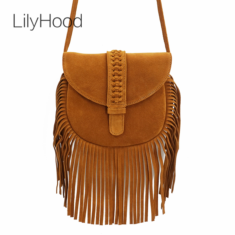 LilyHood Women Genuine Leather Fringed Crossbody Bag Boho Hippie Gypsy Folk Ibiza Music Bohemian Fringe Feminine Shoulder Bag genuine leather suede vintage bohemian fringe messenger crossbody bag purse women tassel boho hippie gypsy fringed handbag women