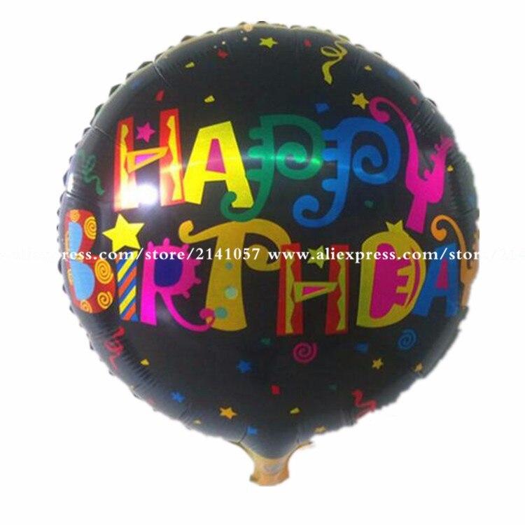 50pcs/lot printed happy birthday balloon 18inch metallic baloon for birthday dec