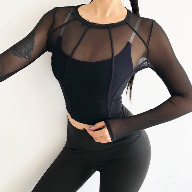 4125d11531b US $12.85 49% OFF|Rough Loli Women Active Long Sleeve Sports Running Yoga  Shirts Seamless Athletic Fitness Crop Top Fast Dry Mesh Fitted T Shirts-in  ...