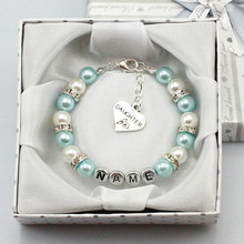 New Personalised Girl Birthday Wedding Gift Charm Bracelet Daughter With Box blue