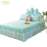 ROMORUS 3 Pieces Princess Lace Bed Sheet Set 100% Cotton Bed Skirt Pillow Cases Full Queen King Size New Korean 133x72 Bed Sheet