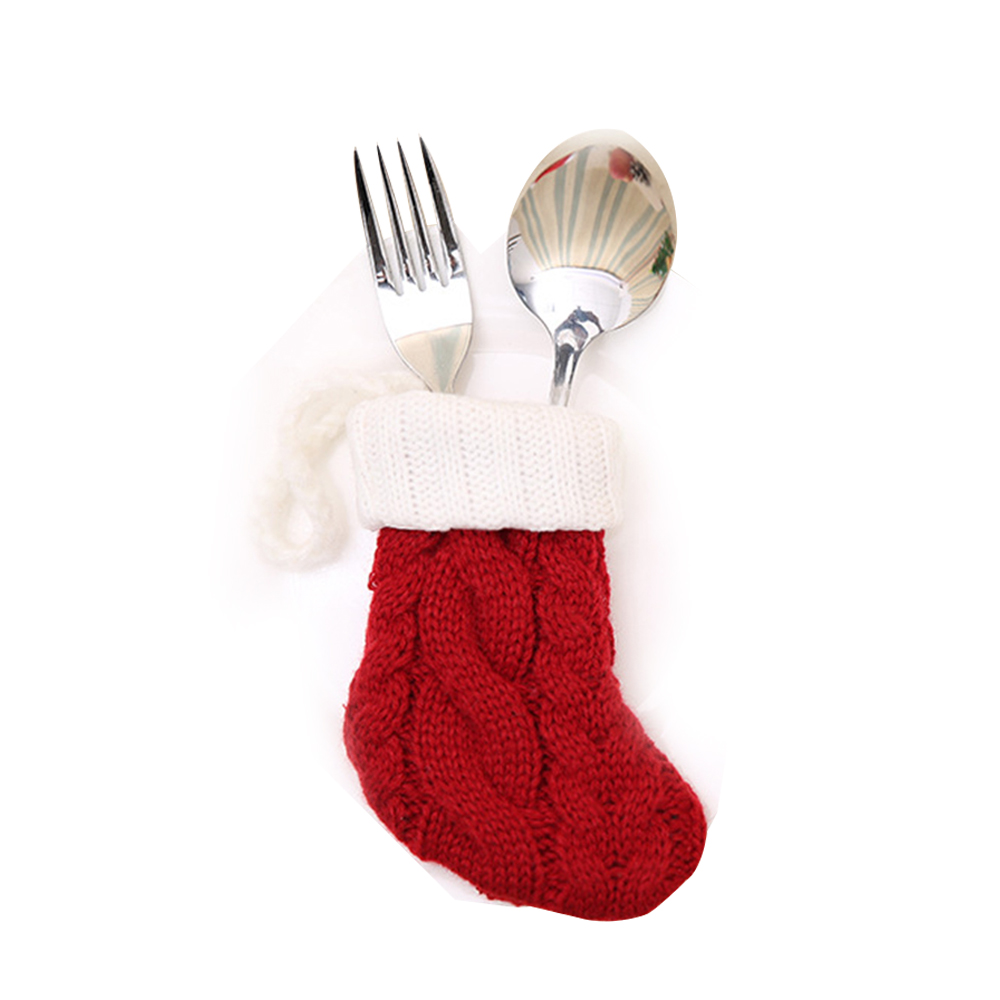 Christmas Tableware Bags Dining Restaurant Table Decoration Knife Fork Holder Santa Claus Christmas Kitchen Decor
