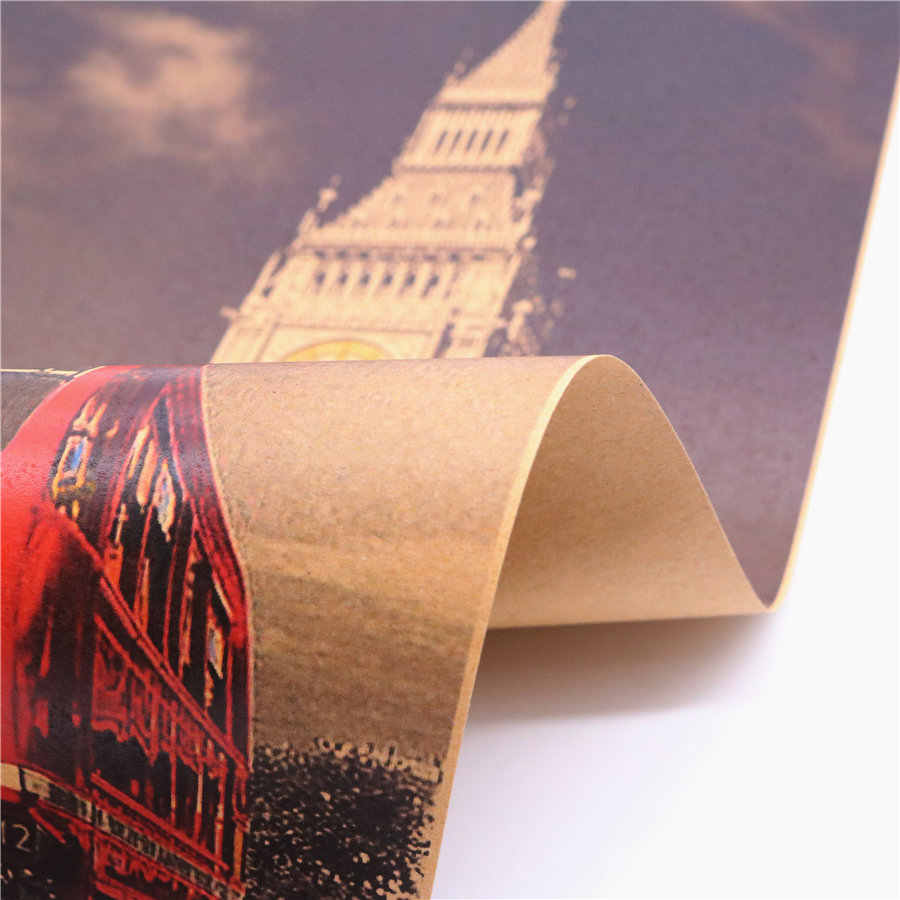 London Big Ben and Classic Red Bus Vintage Kraft Paper Poster Wall Sticker cafe bar pub Retro Painting home decor 45.5x31.5cm