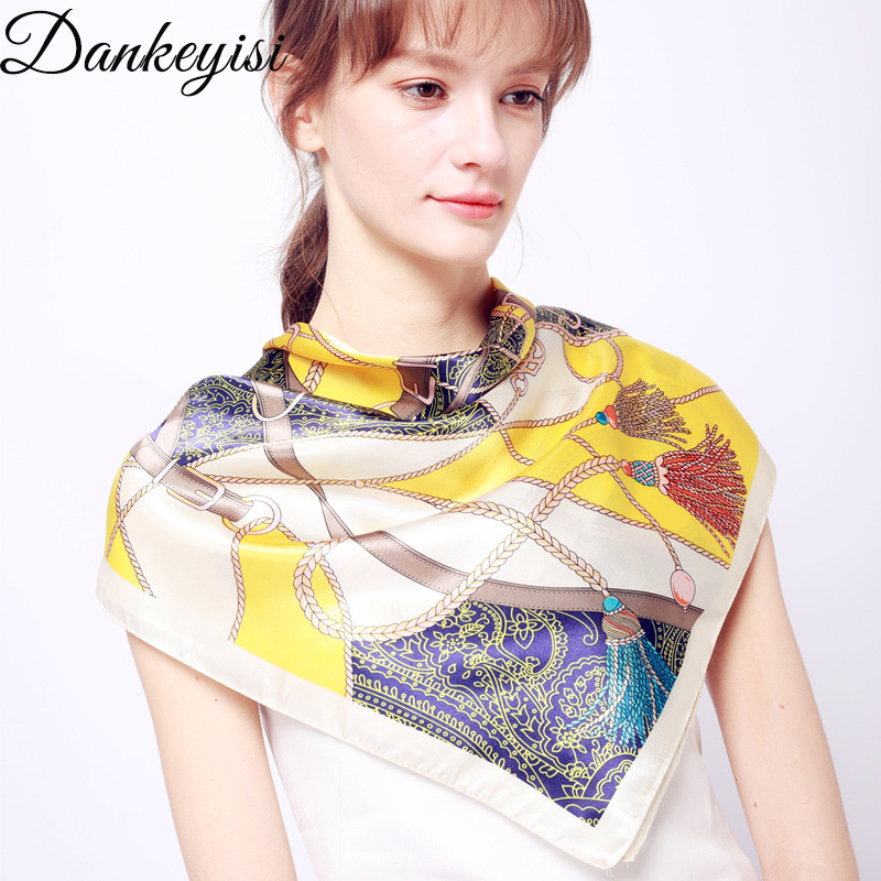 DANKEYISI Women <font><b>Scarf</b></font> Floral <font><b>Scarves</b></font> For Women Print Twill Square <font><b>Silk</b></font> <font><b>Scarf</b></font> Shawl Bandana For Head Large Hijab For Ladies <font><b>90X90</b></font> image