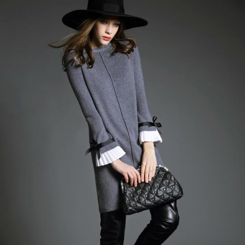 New Women's Sweater Spring 2018 Fashion long sleeve Slim Package hip medium long Casual Solid Slim knitted Sweater Dress Female