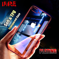 Silicone Plating Red Cases For iPhone 7 7 Plus X Case 7plus 8plus Transparent Soft TPU Full Cover For iPhone 8 8 Plus X 10 Shell