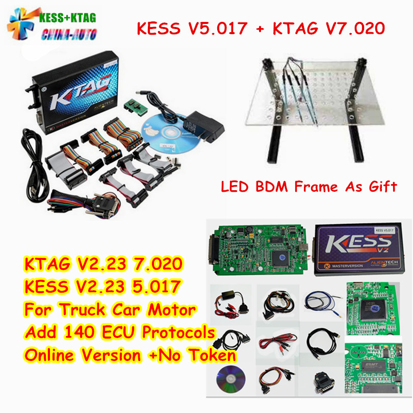 KESS V5.017 V2.23 + KTAG V7.020 V2.23 + LED BDM FRAME No Tokens Limit KESS 5.017 + K-TAG K Tag 7.020 Used Online ECU Programmer 2017 online ktag v7 020 kess v2 v5 017 v2 23 no token limit k tag 7 020 7020 chip tuning kess 5 017 k tag ecu programming tool