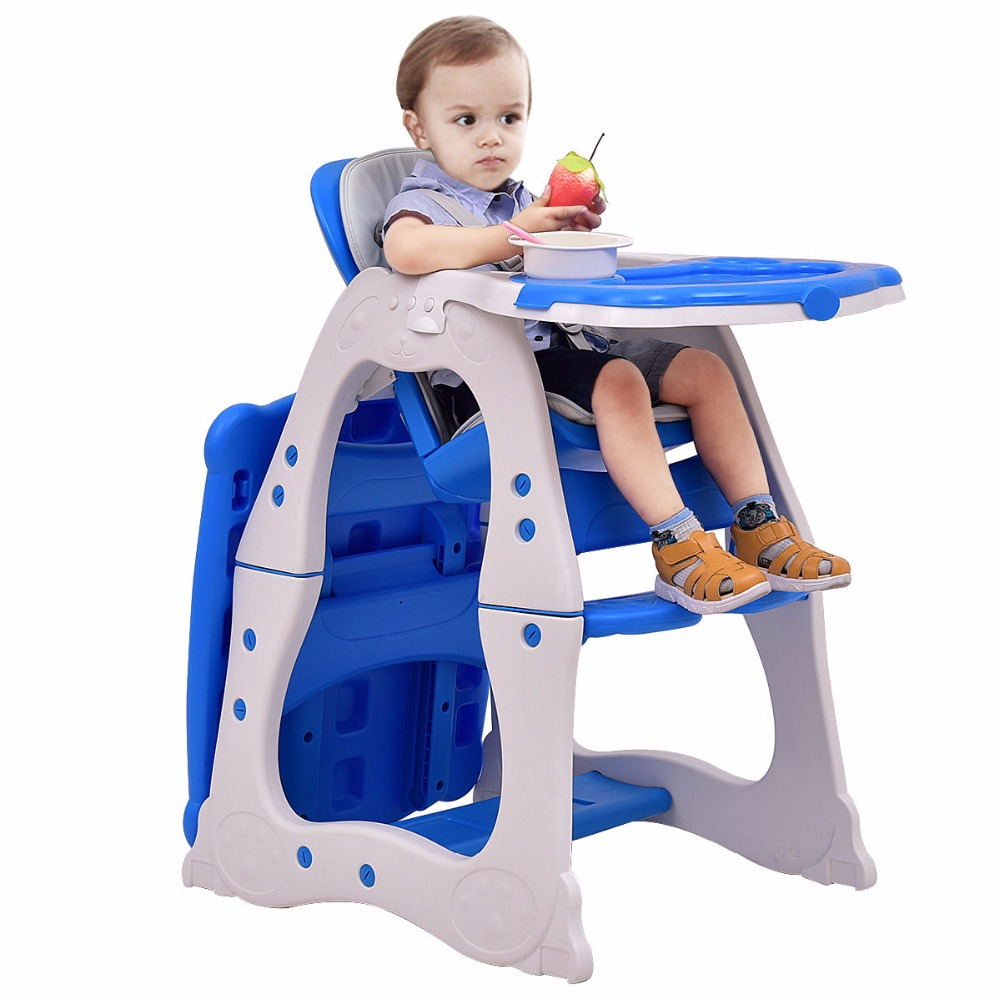 Giantex 3 In 1 Baby High Chair Convertible Play Table Seat Booster Toddler Feeding Tray Adjustable Baby Feed Chair BB4640