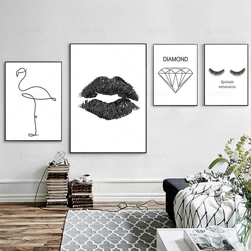 Black and white minimalistic canvas painting abstract Nordic poster wall art painting print picture for living room decoration