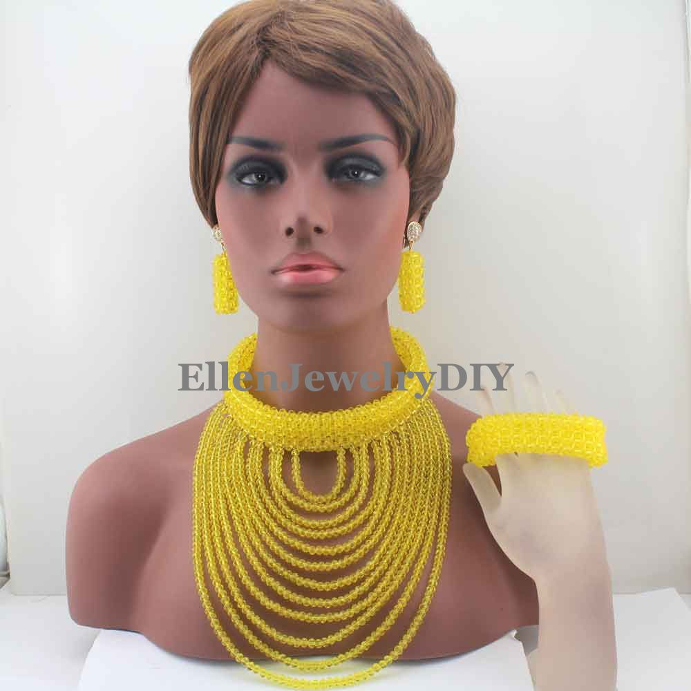 2019 New Big Chunky Women Gift African Jewelry Set Yellow Nigerian Wedding Beads Crystal Bridal Jewelry Sets Free ShippingW130722019 New Big Chunky Women Gift African Jewelry Set Yellow Nigerian Wedding Beads Crystal Bridal Jewelry Sets Free ShippingW13072