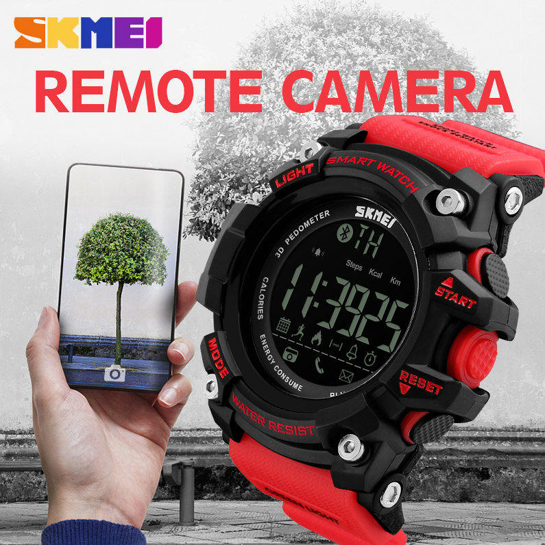 SKMEI Outdoor Fashion Smart Men Watches For IOS Android Multifunction Bluetooth Data Remote Camera Call Remind Sport Wrist Watch