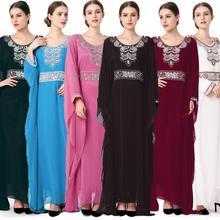Женское длинное платье фараша с рукавом летучая мышь свободный халат кафтан джилбаб Исламская молитва Вышивка Платье Одежда Турция Рамадан