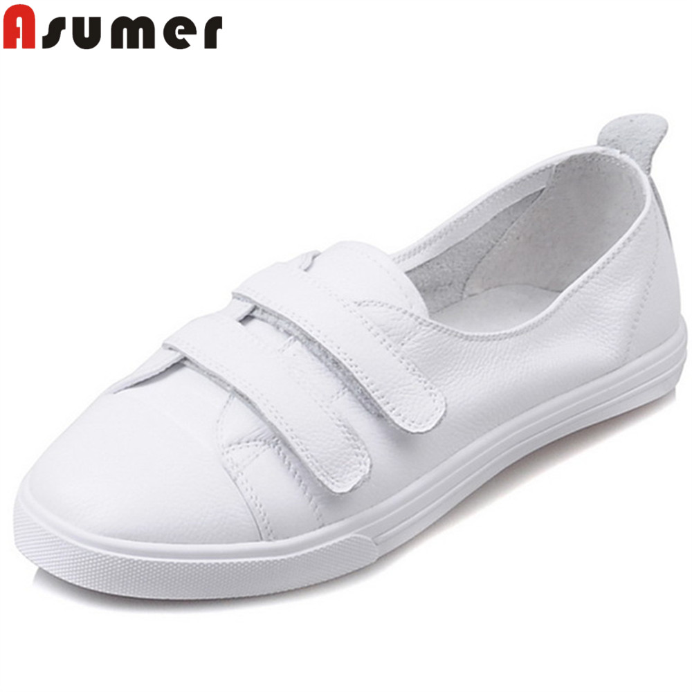 ASUMER white fashion new arrival flat shoes woman casual women genuine leather shoes comfortable simple flats asumer white fashion spring autumn flat shoes woman round toe casual comfortable women genuine leather flats simple