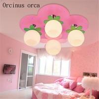 Creative cartoon LED ceiling lamp Girl Bedroom Princess bedroom children room light simple cute pink Apple ceiling lamp