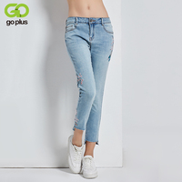 GOPLUS 2017 New Bird Flower Embroidery Jeans Step Cut Frayed Hem Calf Length Autumn Women Stretch