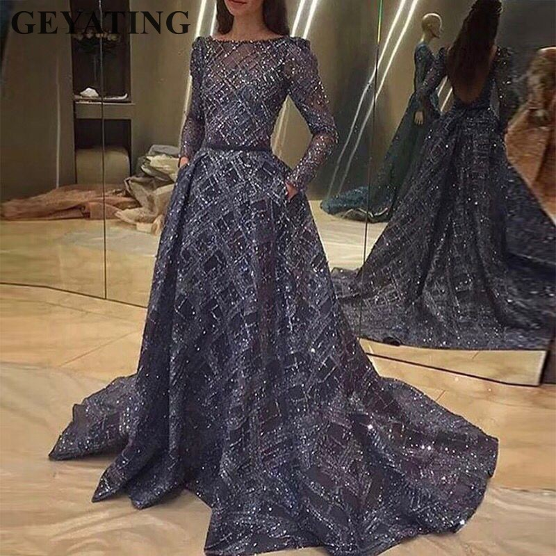 Sparkly Sequined Navy Blue Arabic Evening Dress Long Sleeves Backless Long Prom Dresses Dubai Turkish Kaftan Formal Party Gowns