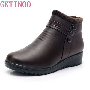 Image 1 - GKTINOO 2020 Fashion Winter Boots Women Leather Ankle Warm Boots Mom Autumn Plush Wedge Shoes Woman Shoes Big Size 35 41