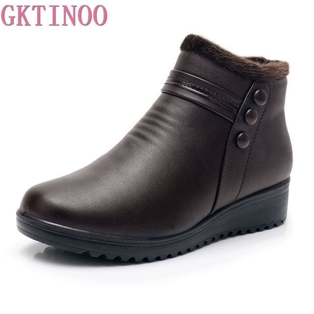 GKTINOO 2020 Fashion Winter Boots Women Leather Ankle Warm Boots Mom Autumn Plush Wedge Shoes Woman Shoes Big Size 35 41