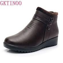 Gktinoo 2020ファッション冬のブーツ女性の革のアンクル暖かいブーツママ秋ぬいぐるみウェッジシューズ女性の靴ビッグサイズ35 41