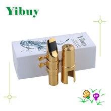 Yibuy E-flat Alto Saxophone Sax Mouthpiece Cap Ligature Gold plate 7# Good Sound