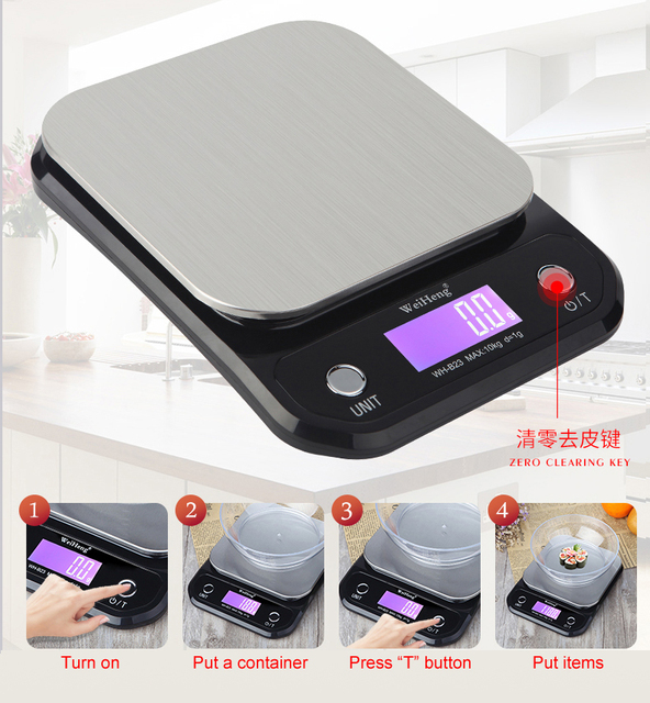 Digital Kitchen Food Scale 10Kg/1g stainless steel weighing Postal Electronic Scales Measuring tools weight Balance 2