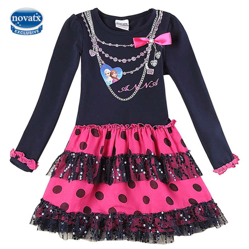 novatx H5478 Baby girls dresses children clothes long sleeve nova kids wear fashion elsa girls frocks hot selling frocks