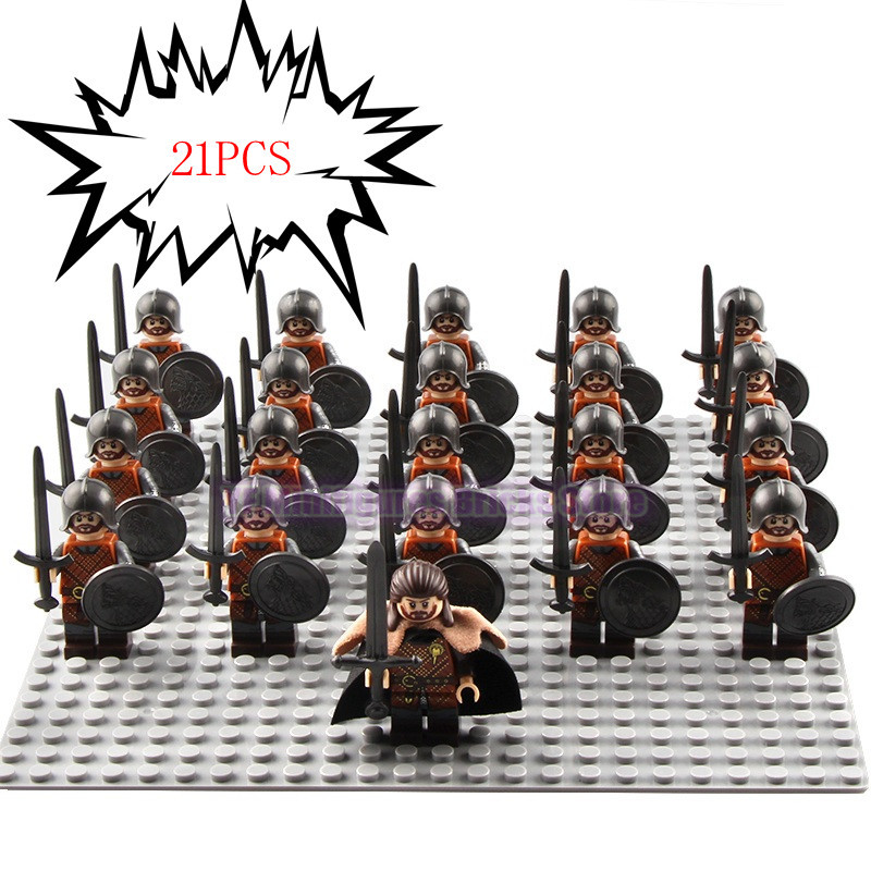 Image 2 - 21Pcs/Lot Game of Thrones Kingsguard Legoed Army Minifigured Playmobil Medieval Knight Soldiers Military Building Blocks Toys-in Blocks from Toys & Hobbies