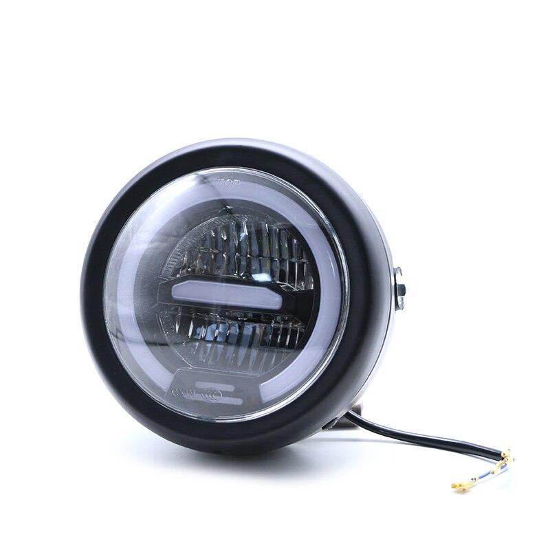6.5 pouces universel café Racer Vintage moto LED lampe frontale phare distance lumière Refit moto phare café Racer - 4