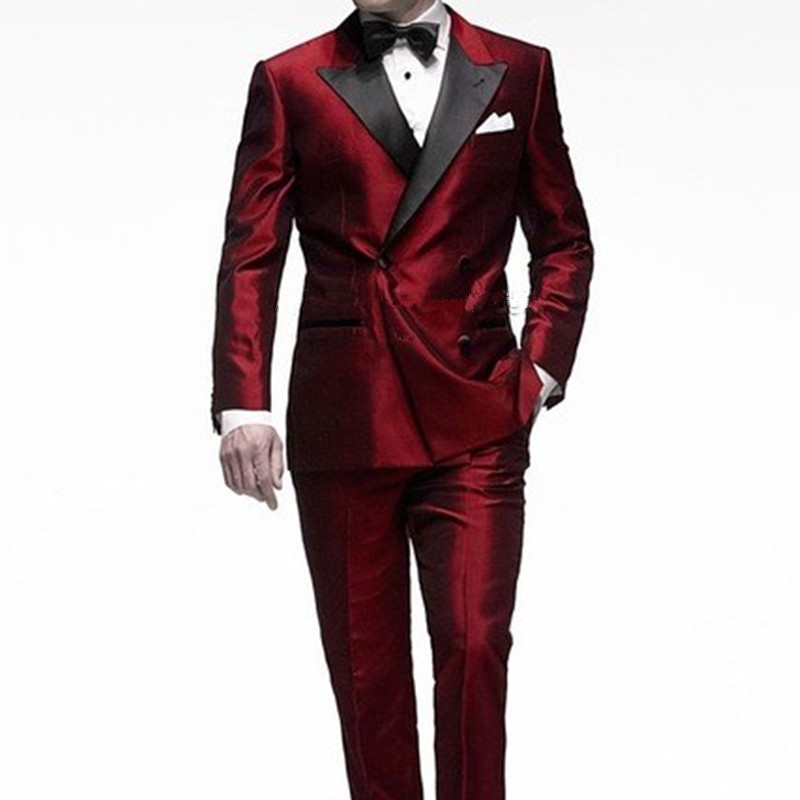 jacket+pants+tie W:21 Responsible High Quality Black Mens Suits Groom Tuxedos Groomsmen Wedding Party Dinner Best Man Suits