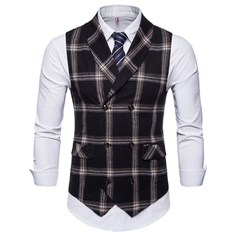 Riinr, новинка, приталенный мужской жилет, повседневный костюм, жилет для мужчин, Клетчатый Стиль, для мужчин, Chalecos Hombre, деловая одежда, жилет без рукавов, жилет - Цвет: Black
