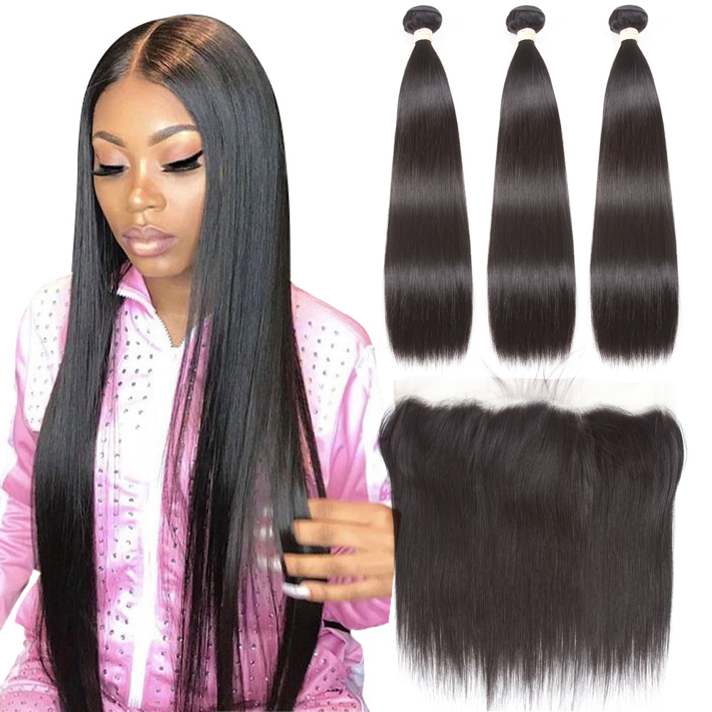 Beaudiva Brazilian Straight Hair Weave Bundles 3 Bundles With Frontal Human Hair Weave Bundles 13x4 Lace