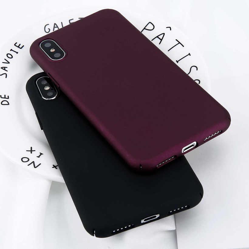 USLION Per il iPhone 11 Pro Max X Xs Max XR 8 7 Pianura Cassa Del Telefono Glassata Dura del PC Della Copertura Posteriore per iPhone 8 7 6 6S Plus 5 5S SE Casi