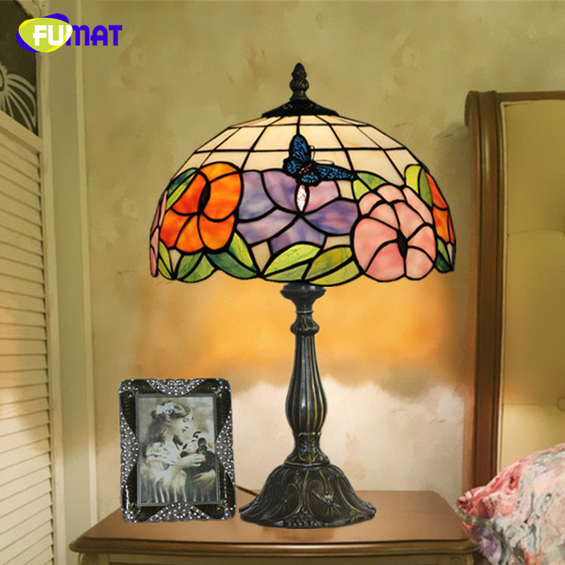 FUMAT Stained Glass Table Lamp LED Butterfly Flowers Glass Shade Lamp Living Room Hotel Bedside Lamp Home Decor Light Fixtures