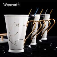Wourmth 12 Constellations tasses blanc et or os chine porcelaine café lait tasse avec cuillère en acier inoxydable zodiaque tasse en céramique