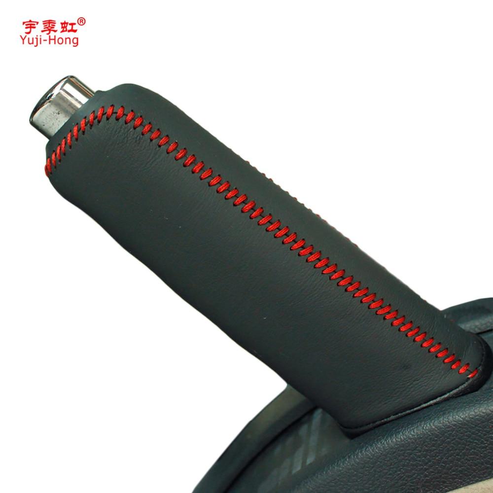 Yuji-Hong Car Handbrake Covers Case for SKODA Octavia Superb Yeti Genuine Leather Cover Handbrake Grips Car Styling Black