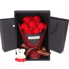 7 шт. ароматическое мыло ручной работы цветок розы с милым медведем и Подарочная коробка для свадьбы День Святого Валентина День матери романтический подарок