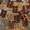 1 Unids 2.1 M 20Led Batería Led Luz de la Secuencia Con Pilas Retro Metal Jaula de Hierro Linterna de Hadas de la Fiesta de Navidad de La Boda cuerdas