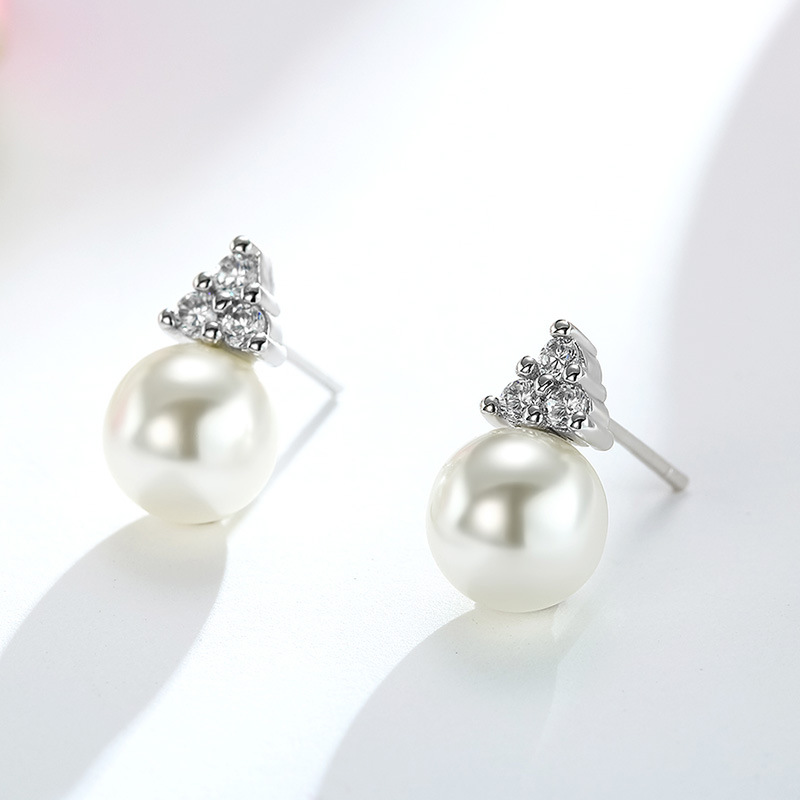 100 925 sterling silver fashion imitation pearl crystal ladies stud earrings women wedding gift cheap Anti allergy in Stud Earrings from Jewelry Accessories